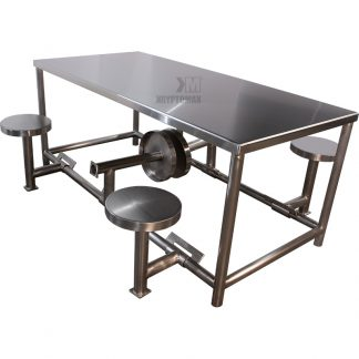 KryptoMax® Folding Seat 6 Person Stainless Steel Table pictured with middle stools folded in and rest deployed ready for use - ideal for social distancing