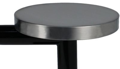 KryptoMax® 4 seat table prison table showing detail of stainless steel stool top with black powder coated table legs.