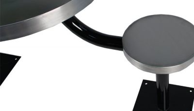 KryptoMax® 4 seat table prison table showing optional powder coated black pedestal and stainless steel stool top details.