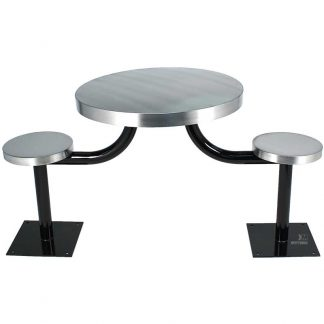KryptoMax® 2 seat table prison table shown from side with black powder coated table legs and floor mount, stainless steel stool and table tops