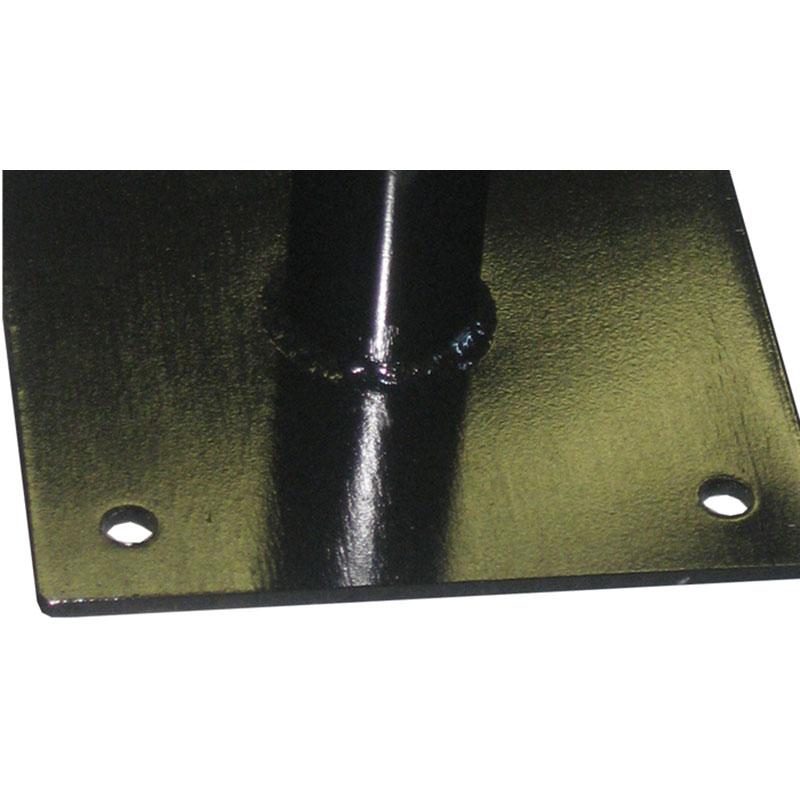 KryptoMax® 8 seat stainless steel rectangular table view of floor mount detail