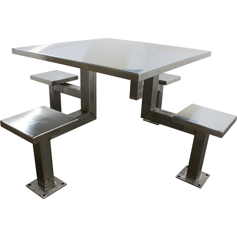 KryptoMax® 4 Seat Stainless Steel Table showing Surface View