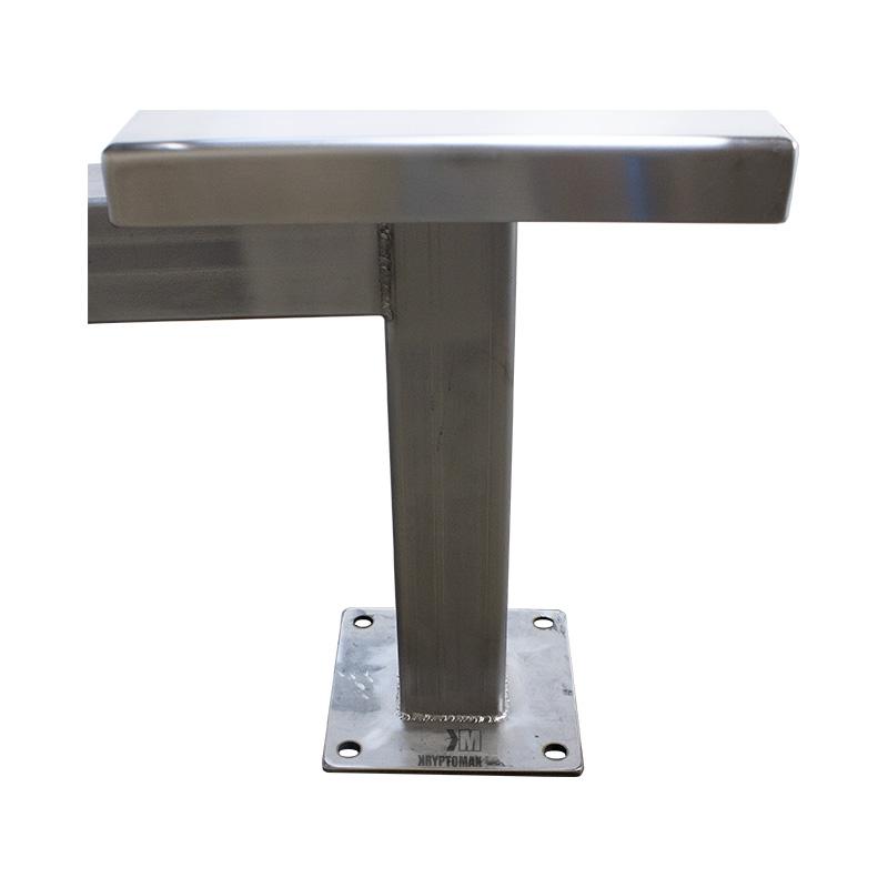KryptoMax® 4 Seat Stainless Steel Table showing stool floor mount plate detail