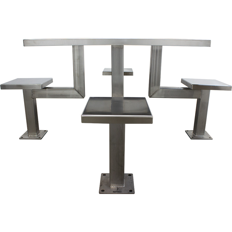 KryptoMax® 4 Seat Stainless Steel Detention Table shown from side