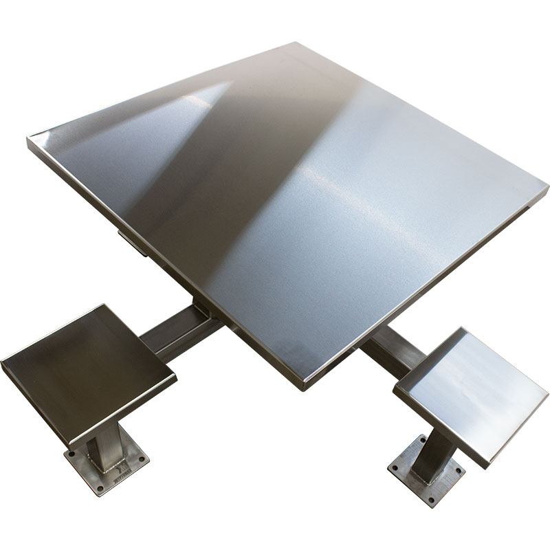 KryptoMax® 4 Seat Stainless Steel Table shown from top view