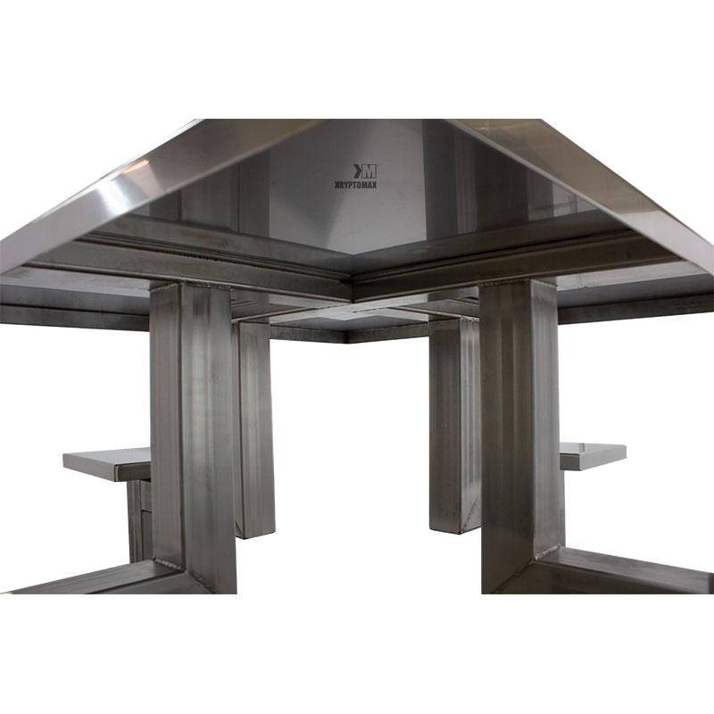 KryptoMax® 4 Seat Stainless Steel Detention Table showing underside detail