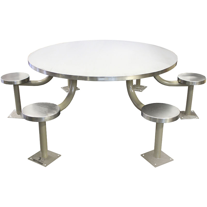 KryptoMax® 6 seat stainless steel round table version with mild steel, gray powdercoated pedestals