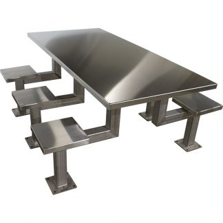 KryptoMax® 6 seat stainless steel rectangular table for intensive use shown from angled view