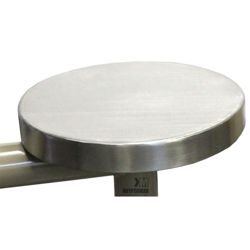 KryptoMax® 6 seat stainless steel round table stool detail closeup view