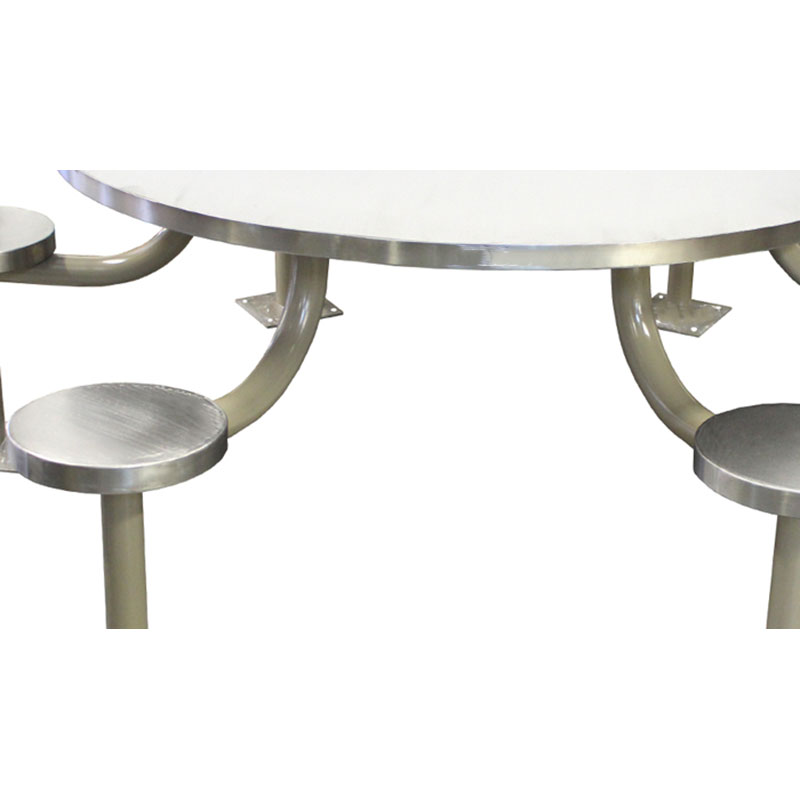 KryptoMax® 6 seat stainless steel round table detail view of gray powdercoated pedestals (standard version is all stainless steel)