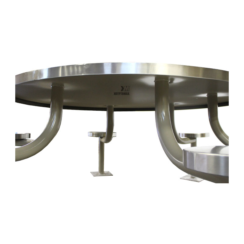 KryptoMax® 6 seat stainless steel round table view of underneath detail