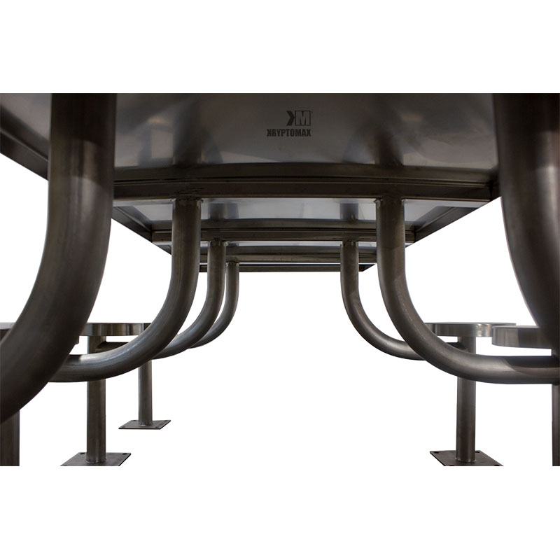 KryptoMax® Stainless Steel 8 person, 7 seat rectangular detention table showing underside of table and pedestal attachment points