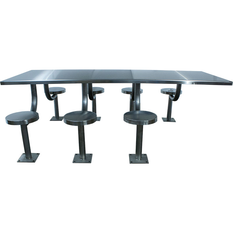 KryptoMax® stainless steel 8 person, 7 seat rectangular detention table showing wheelchair accessible location on right side