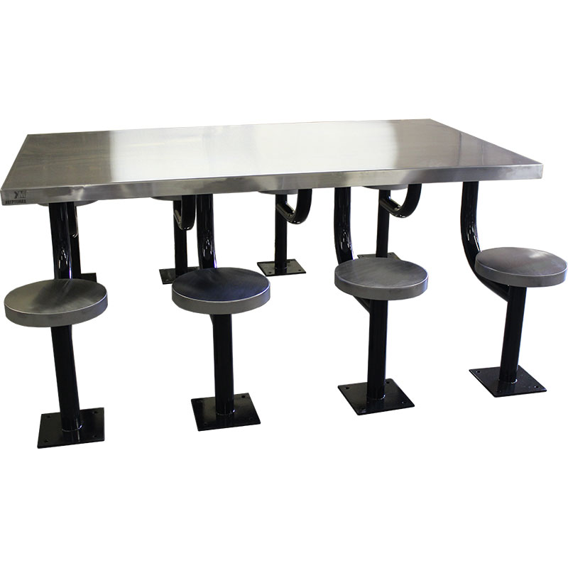 KryptoMax® 8 seat stainless steel rectangular table for intensive use(Part: KM-SPT-8REC) viewed from side