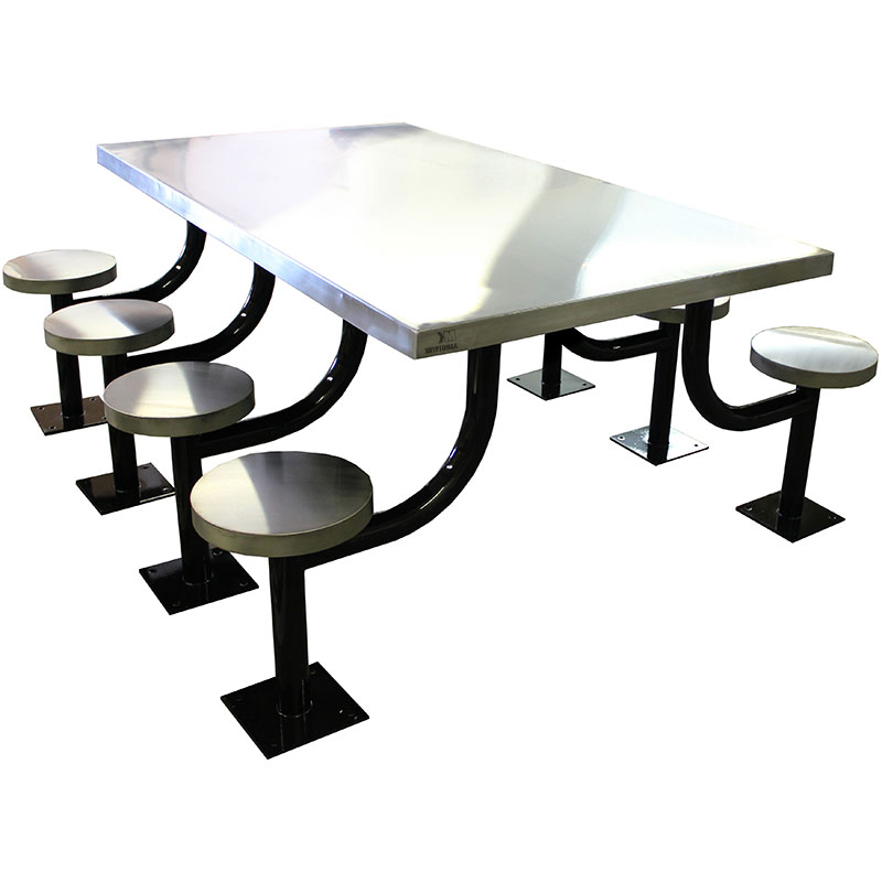 KryptoMax® 8 seat stainless steel rectangular table for intensive use (Part: KM-SPT-8REC) main view
