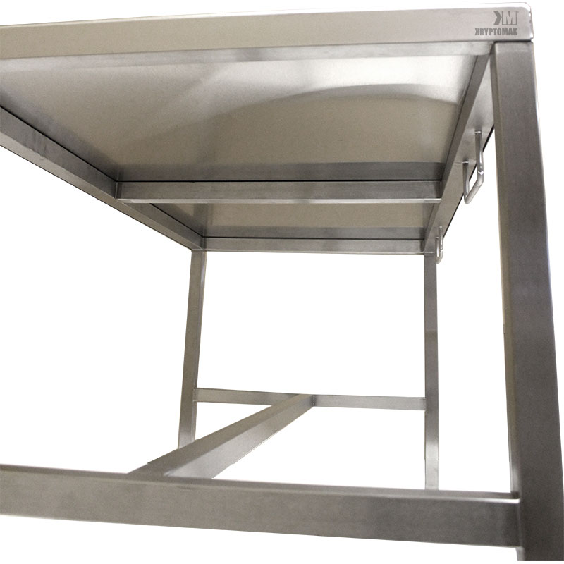 KryptoMax® Stainless Steel Interview Table frame underbracing detail shown under table