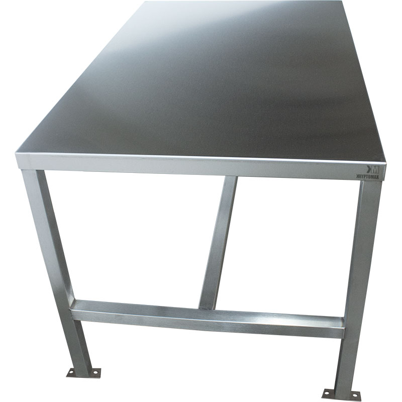 KryptoMax® Stainless Steel Interview Table with handcuff rings and bolt-to-floor mounts shown from end of table