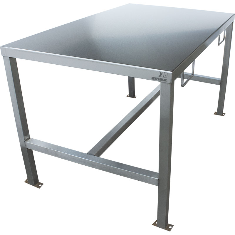 KryptoMax® Stainless Steel Interview Table with handcuff rings and bolt-to-floor mounts shown from left side