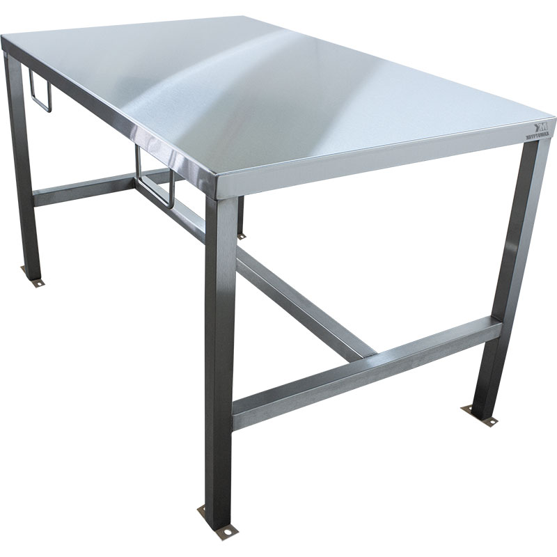KryptoMax® Stainless Steel Interview Table with handcuff rings and bolt-to-floor mounts shown from right side of table
