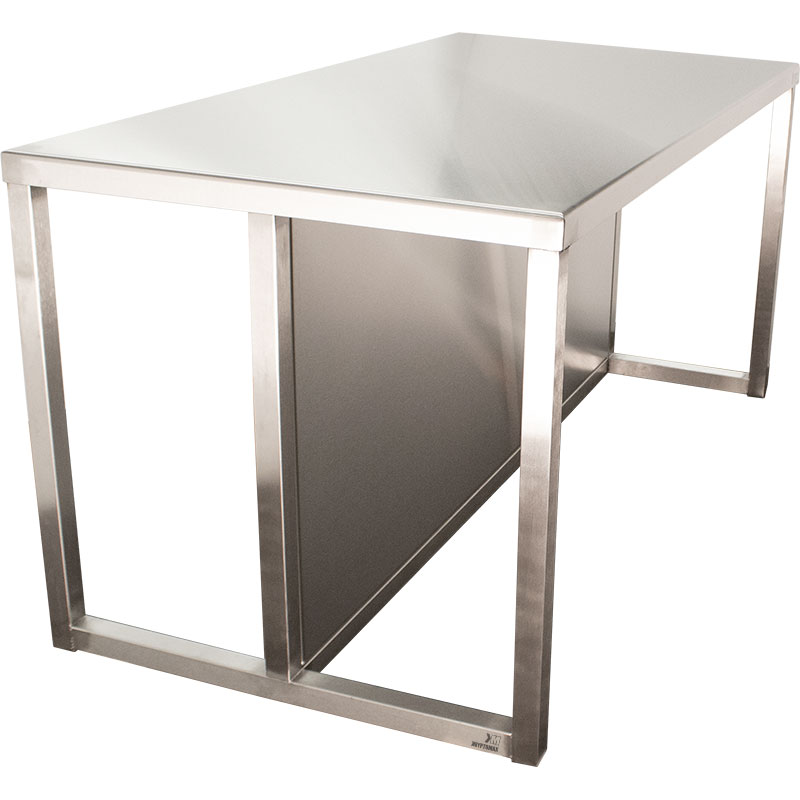 KryptoMax® Stainless Steel Interview Table with kick guard panel viewed from side angle