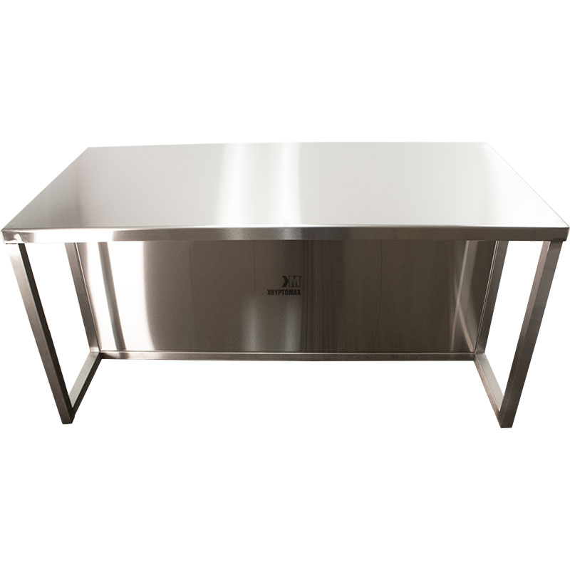 KryptoMax® Stainless Steel Interview Table with kick guard panel viewed from front with table top detail