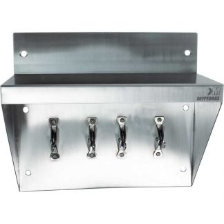 KryptoMax® Stainless Steel Shelf with Four Anti-Ligature Collapsible Safety Hooks shown from front of shelf