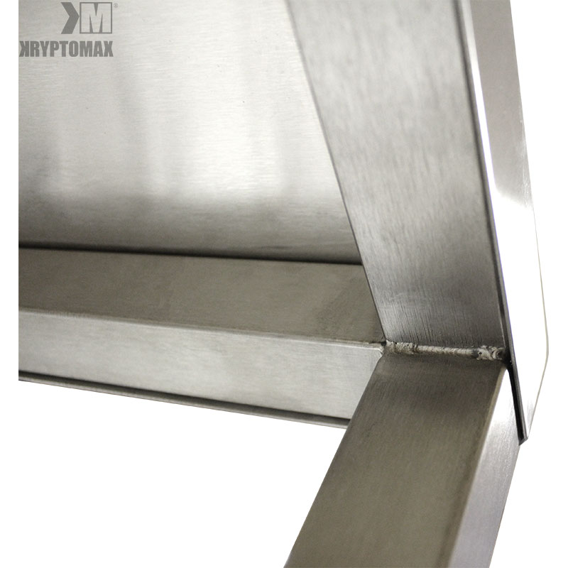 close-up view of quality welded joint seams underneath the KryptoMax® Stainless Steel Kitchen Prep Table