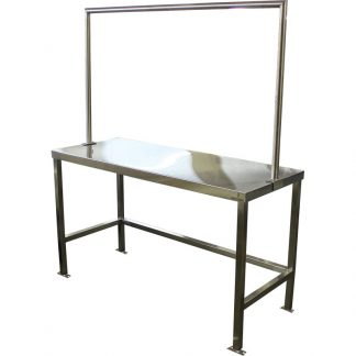 KryptoMax® Stainless Steel Detention Laundry Table main image showing table, floor mount brackets, and laundry sorting rack