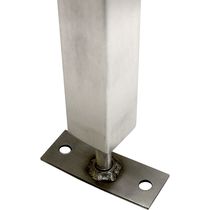 KryptoMax® Stainless Steel Interview Table showing closeup view of stainless steel leveling floor mount bracket attached to table leg