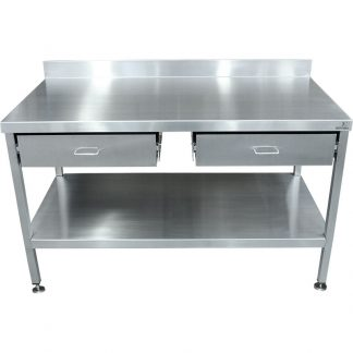 KryptoMax® Stainless Steel Processing Table with storage drawers, shelf, backsplash, and heavy duty leveling feet shown from front side with drawers closed