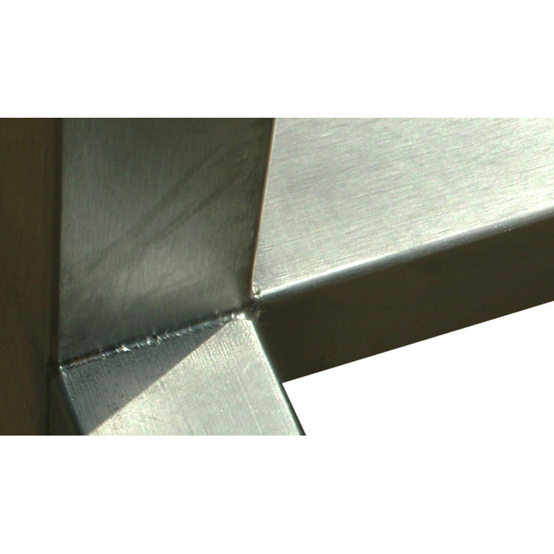 KryptoMax® Stainless Steel Bolt-to-Floor Intake Table close-up view of welded joints on stainless steel table frame