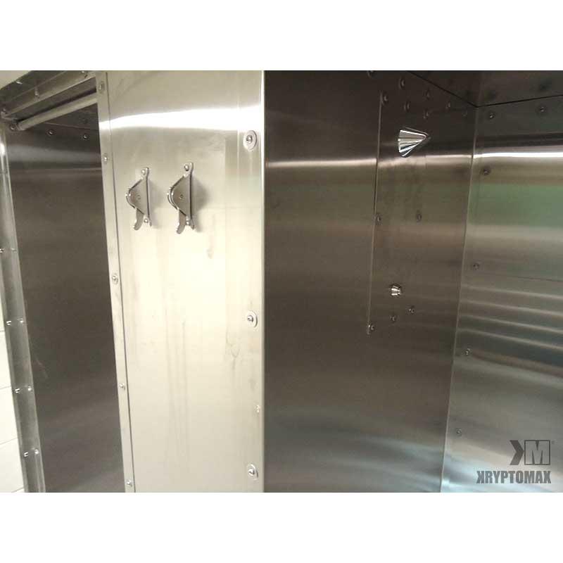 KryptoMax® Stainless Steel Anti-Ligature Shower Panel Assembly shown installed inside of a KryptoMax stainless steel shower and with two KryptoMax anti-ligature towel hooks installed outside the shower