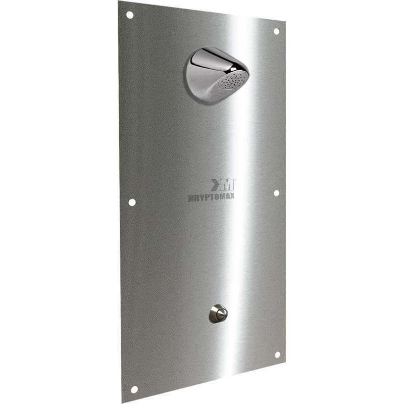 KryptoMax® Stainless Steel Anti-Ligature Shower Panel Assembly rendering showing front-mounted backplate, shower head, and push button