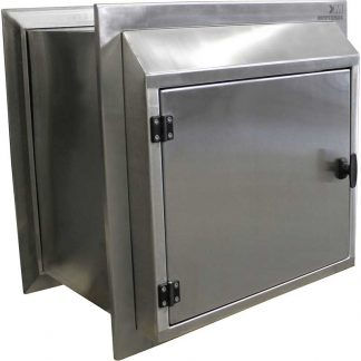 KryptoMax® Stainless Steel Pass Through Cabinet shown with optional black hardware and non-locking latch handle