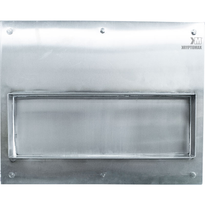 Image showing the KryptoMax® Stainless Steel Food Pass Through Door from cell side with door closed