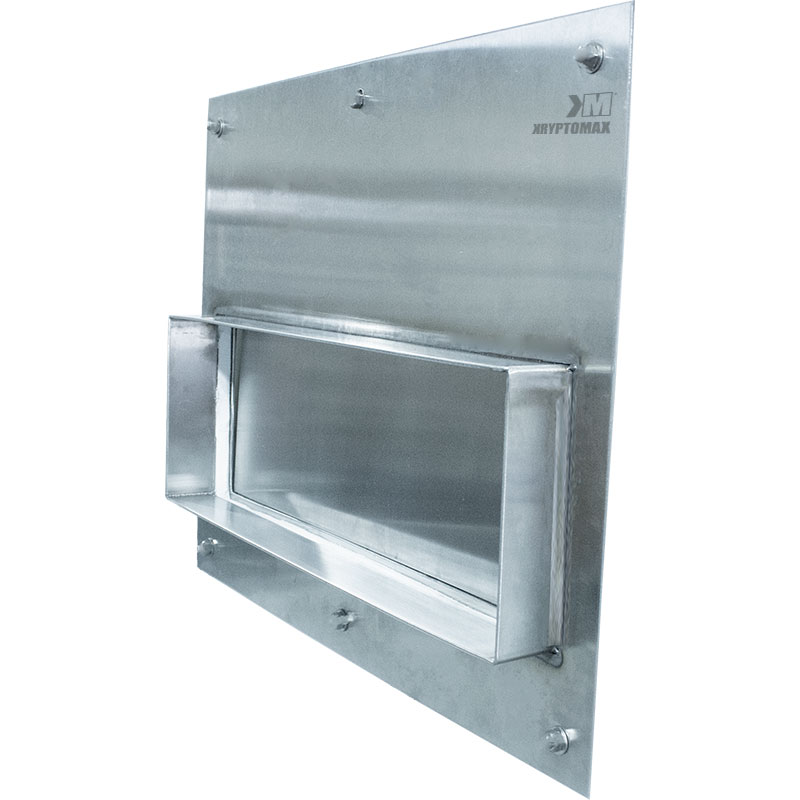 Image showing KryptoMax® Stainless Steel Food Pass Through Door from cell side and highlighting the door insert flange