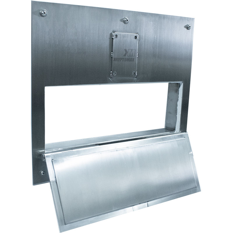 KryptoMax® Stainless Steel Food Pass Through Door shown from left side with food pass open and deadbolt plate ready for lock install