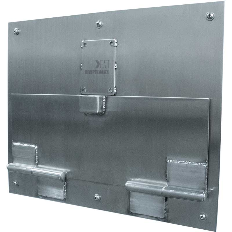 KryptoMax® Stainless Steel Food Pass Door shown from right side at angle with door closed