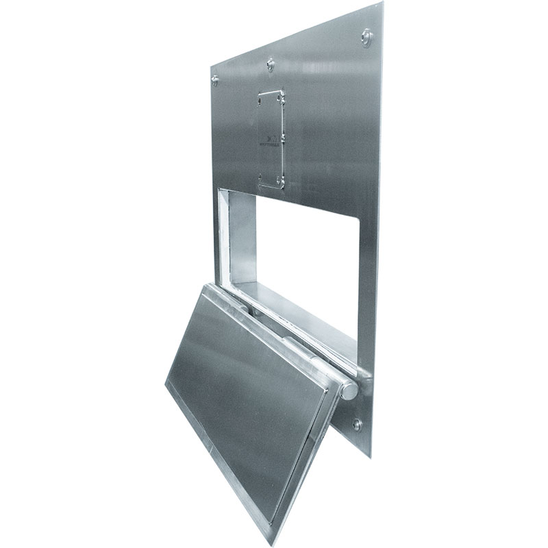 Product image showing KryptoMax® Stainless Steel Food Pass Through Door from front at an angle with food pass door open
