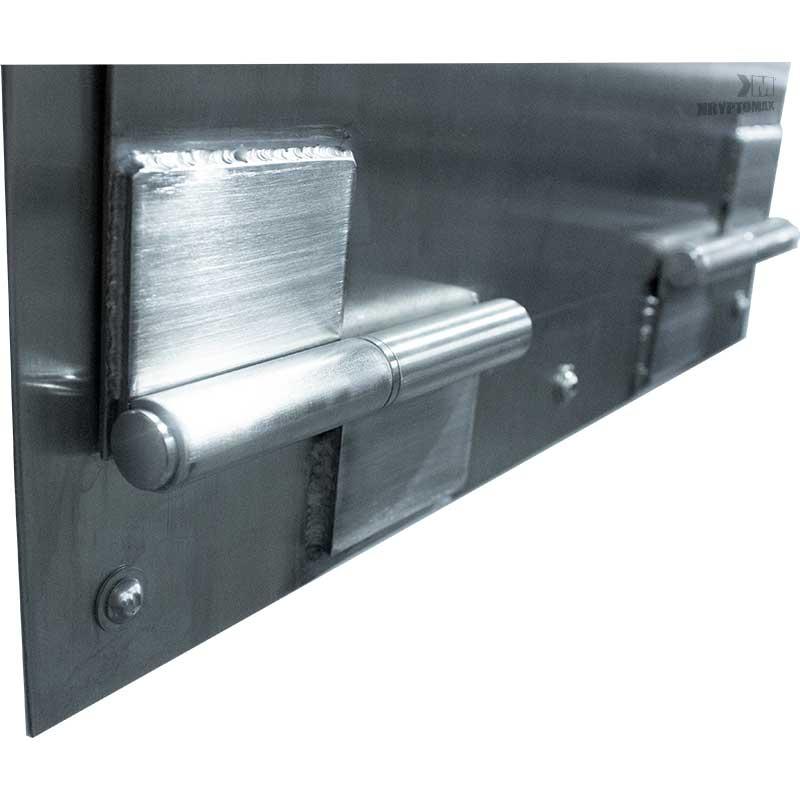 KryptoMax® Stainless Steel Food Pass Through Door no-pinch, stainless steel hinge detail