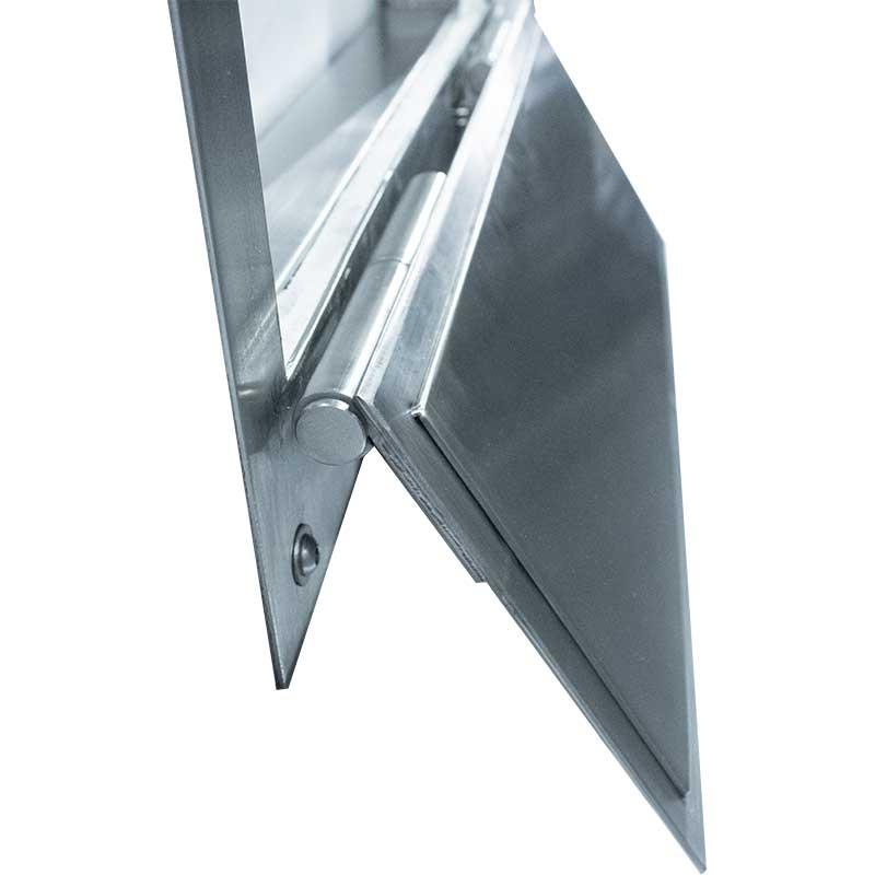 KryptoMax® Stainless Steel Food Pass Through Door showing side of left hinge with door open
