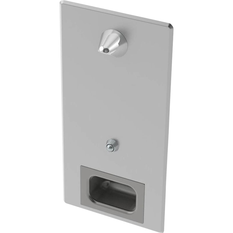 KryptoMax® Stainless Steel Anti-Ligature Shower Panel showing rear-mounted backplate, recessed soap dish, shower head, and push button control