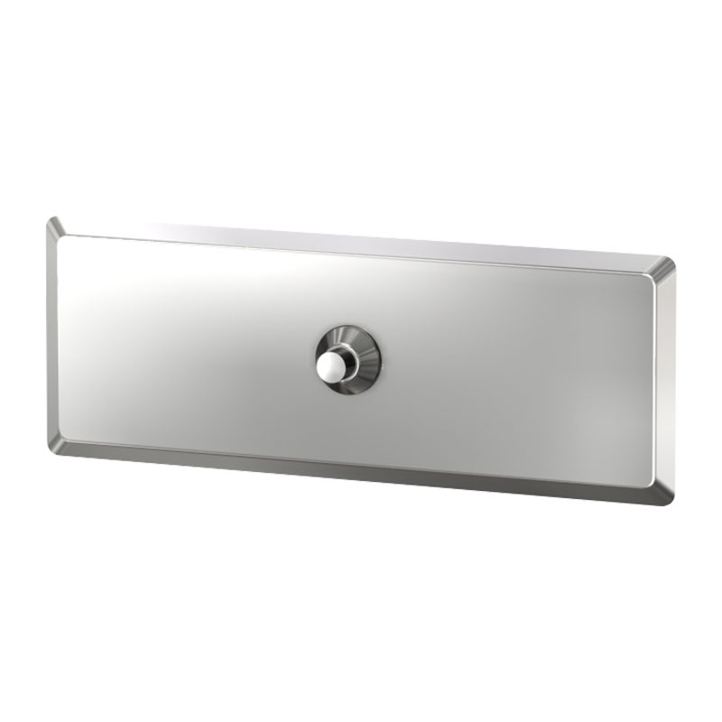 KryptoMax® stainless steel anti-ligature shower control showing push button and backplate