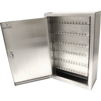 Main product image of the KryptoMax® stainless steel detention key cabinet shown with door open