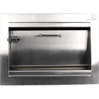 Front view from clerk side of KryptoMax® Stainless Steel Secure Pass Through Hopper with latch engaged (locked, preventing drop-down of hopper drawer)
