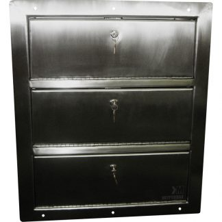 Image showing front of KryptoMax® stainless steel drop-door pistol locker with 3 pistol lockers and keys
