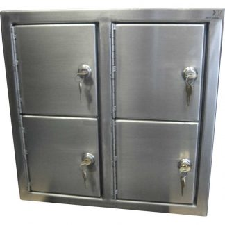 KryptoMax® Stainless Steel Pass-thru Evidence Locker shown from outside with four lockers with keys inserted into locks