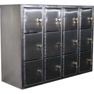 KryptoMax® stainless steel pistol locker for secure storage of handguns. (12 pistols version shown with keys inserted in locks on each locker)