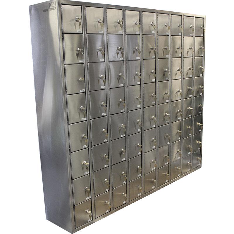 72 pistol lockers version of the KryptoMax® stainless steel pistol locker system