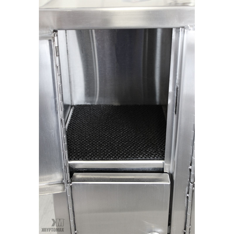 View of interior of one the KryptoMax® stainless steel pistol lockers showing the black neoprene protective liner on floor of locker to protect items to be placed inside.